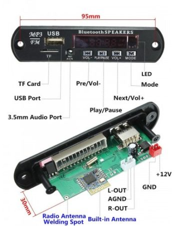 Modulo Reproductor MP3 USB+SD + BLUETOOTH
